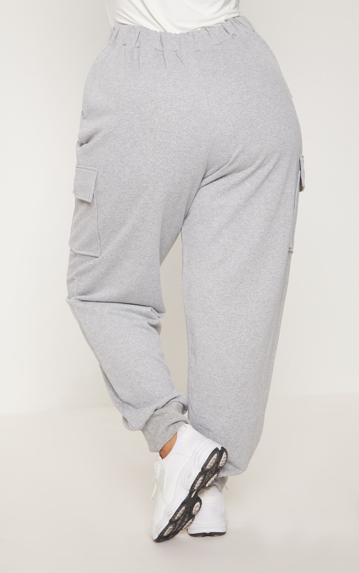 Plus Grey Pocket Detail Cargo Track Pants 4
