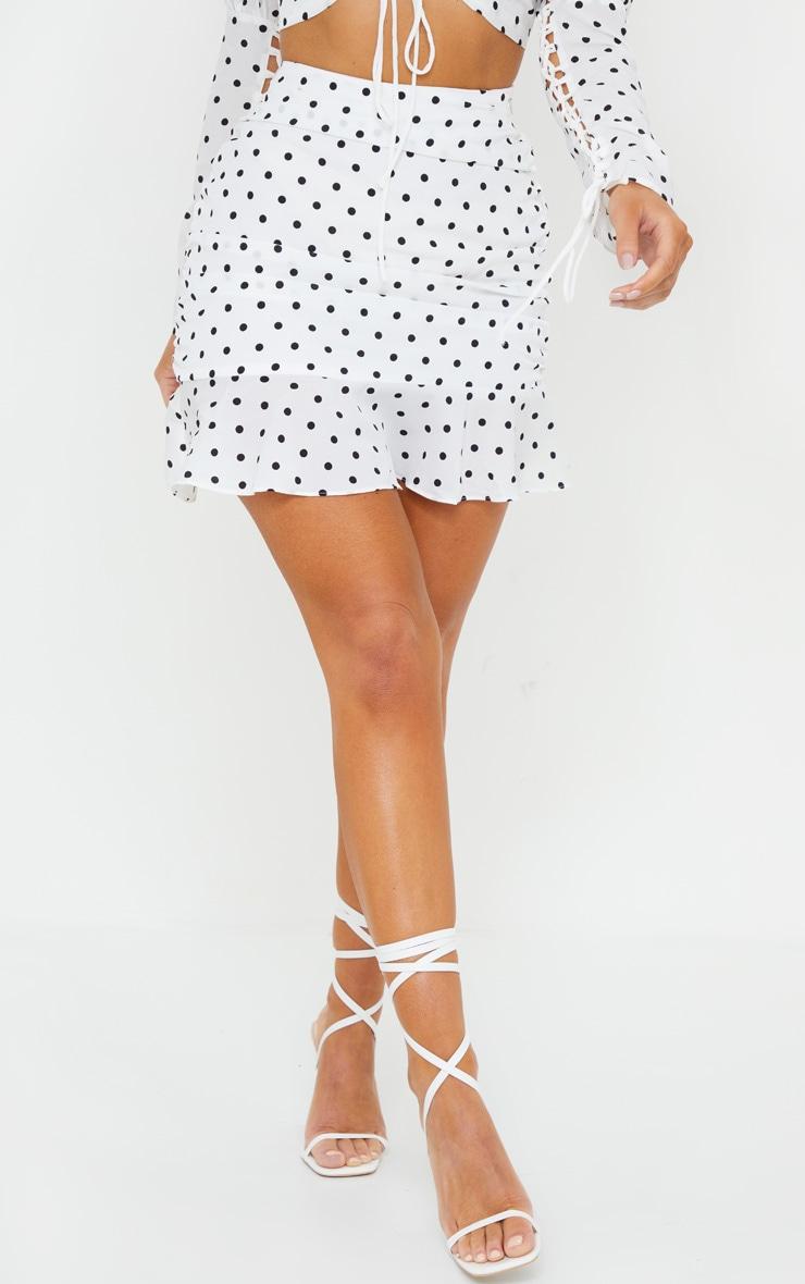 Mini-jupe froncée & volantée blanche à pois 2