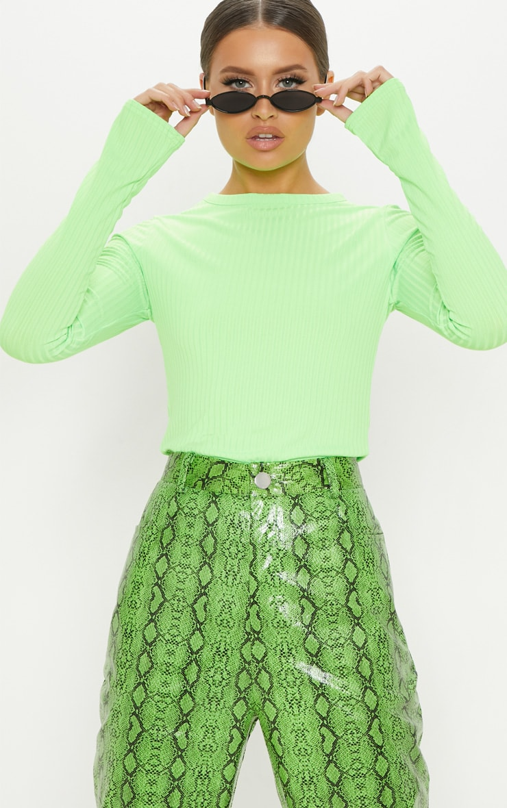 Neon Lime Rib Crew Neck Long Sleeve Top 1