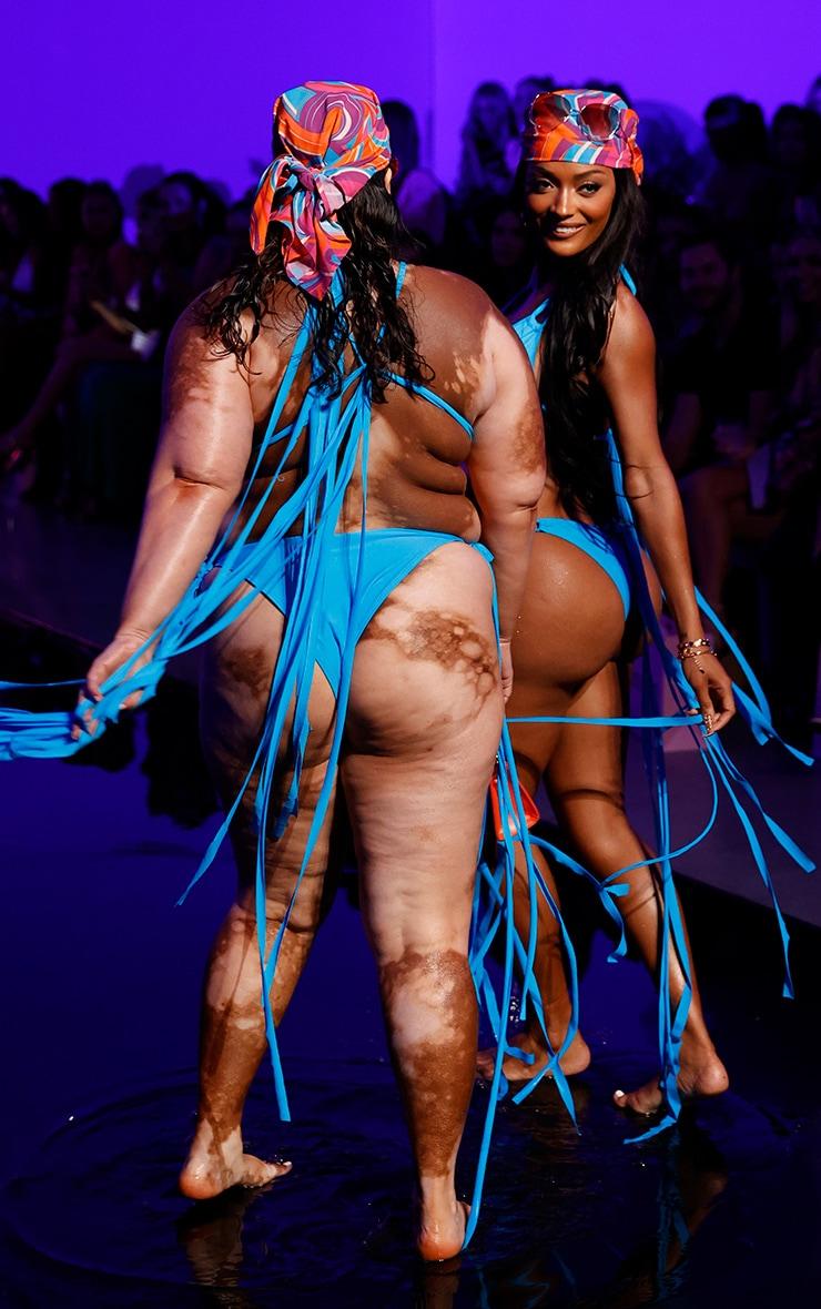 Plus Blue High Leg Tassel Side Bikini Bottoms 2