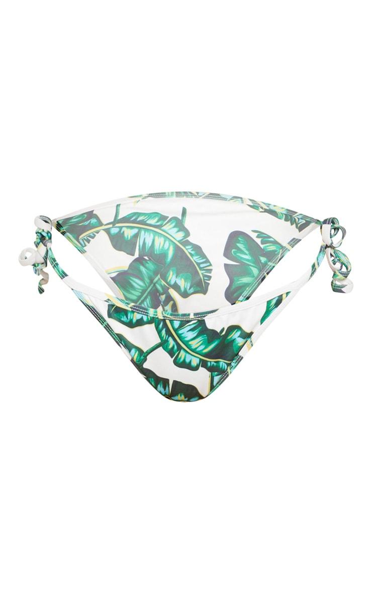Green Palm Print Tie Side Bikini Bottom 4