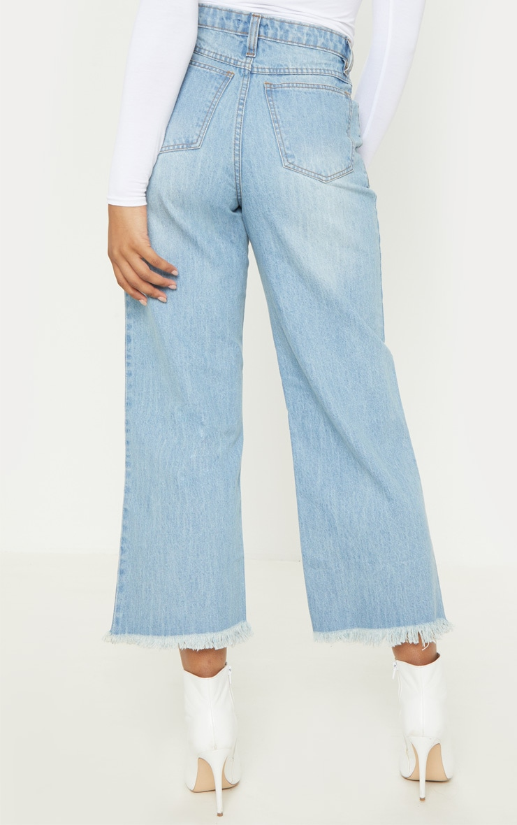 Tall Light Wash Cropped Wide Leg Jean 4