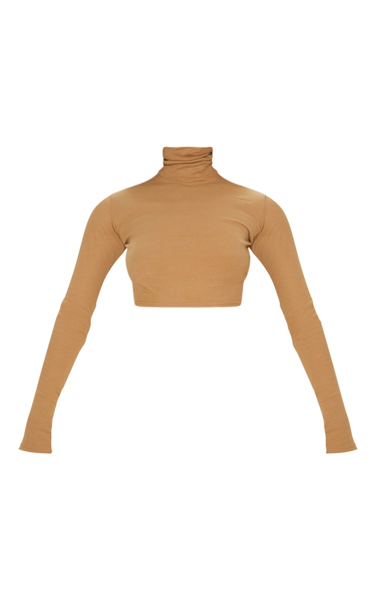 Tan Ribbed Roll Neck Crop Top 3