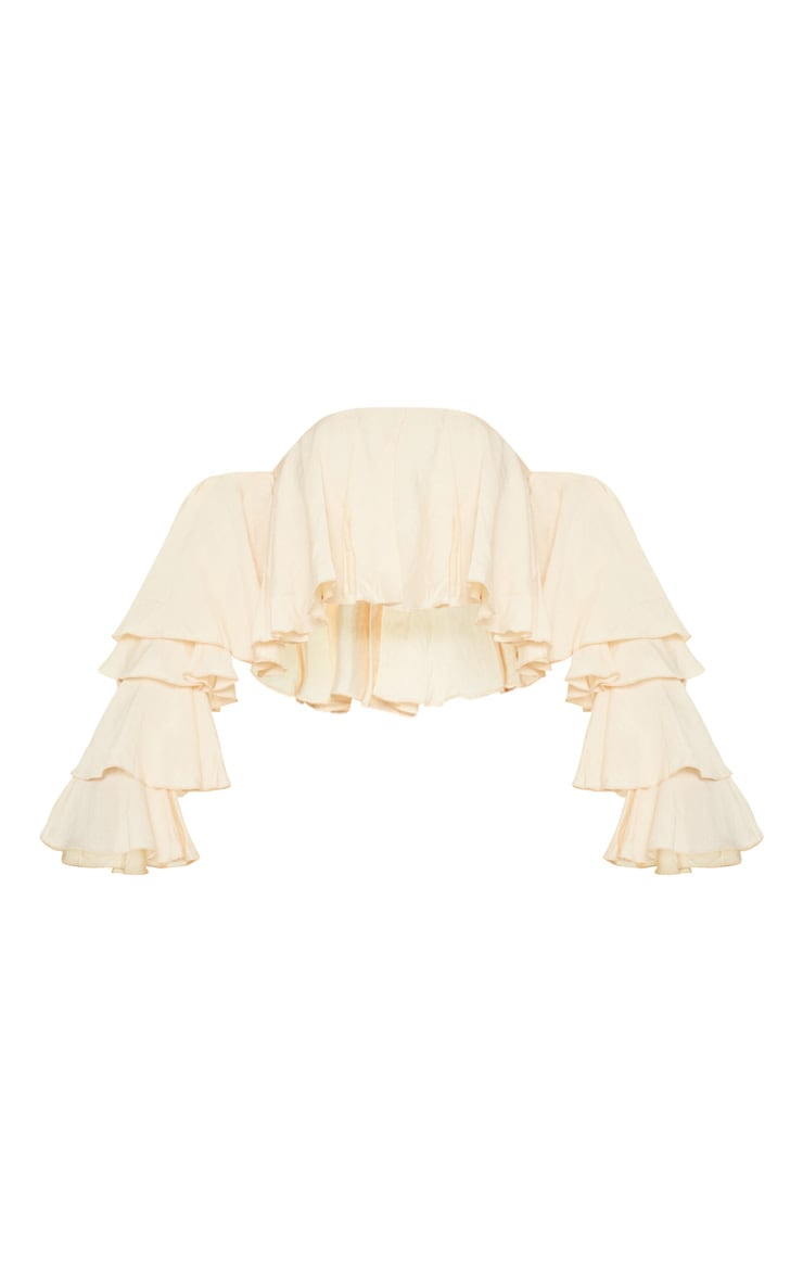Cream Woven Bardot Tiered Sleeve Crop Top 3