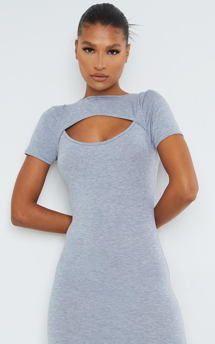 Grey Cut Out Short Sleeve Split Midi Dress 4
