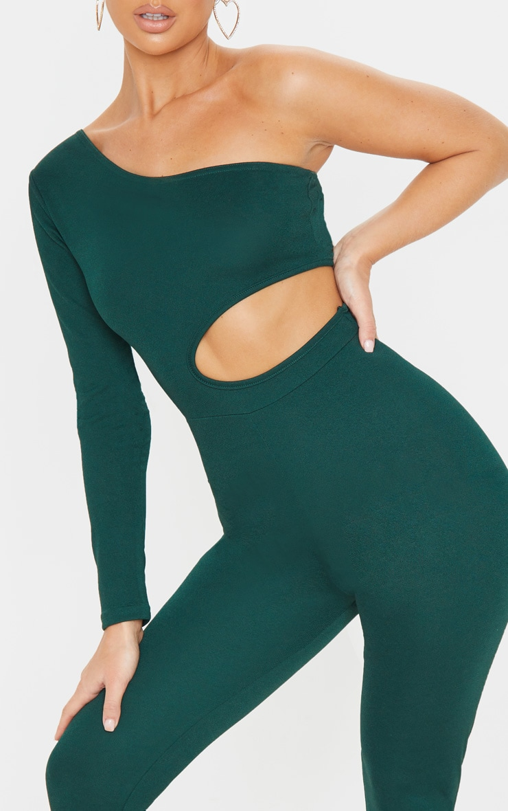 Emerald Green Long Sleeve Cut Out Jumpsuit 4