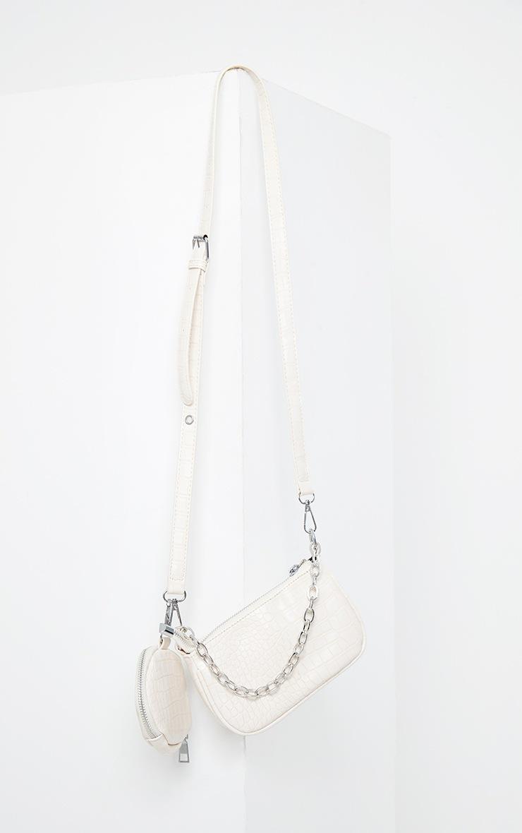 Cream Croc Multi Pocket Cross Body Bag 2