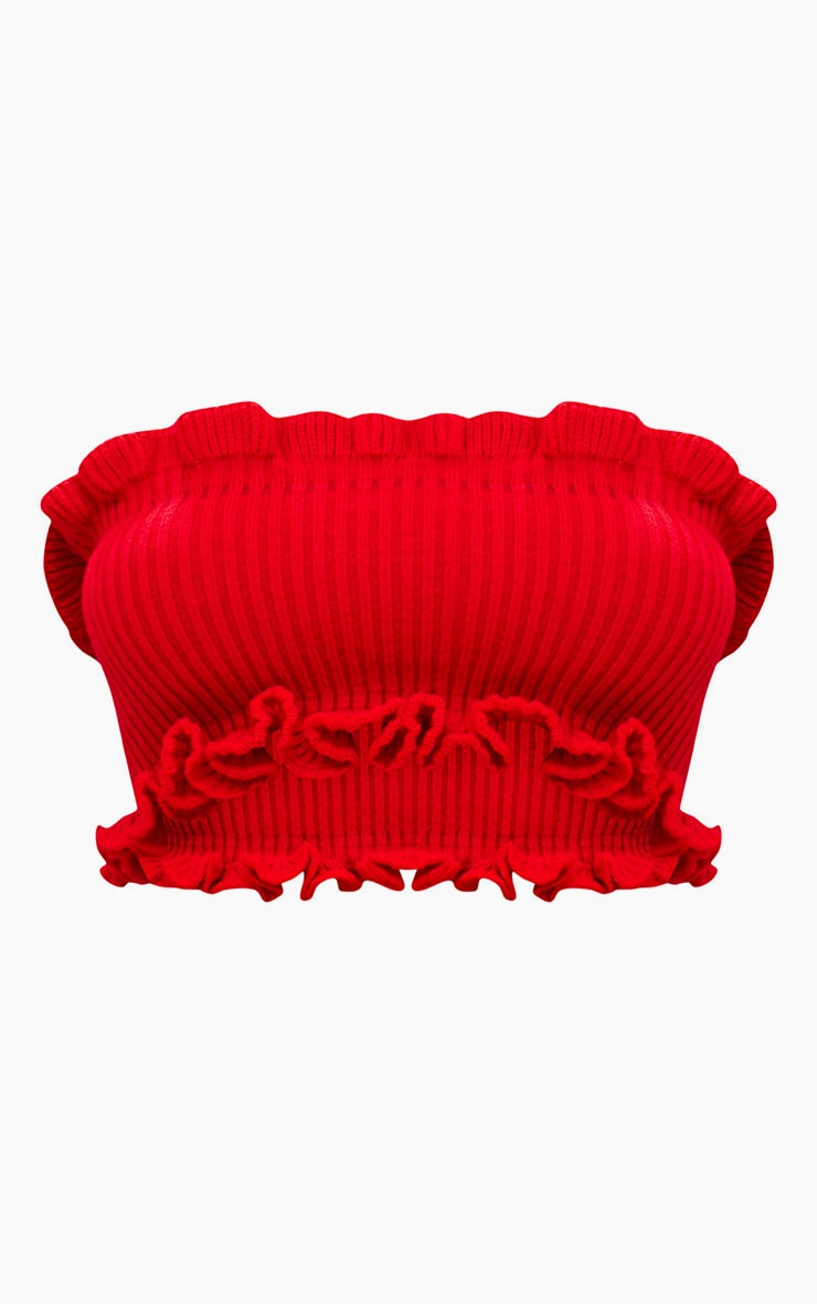 Red Ruffle Detail Knit Tube Top 3