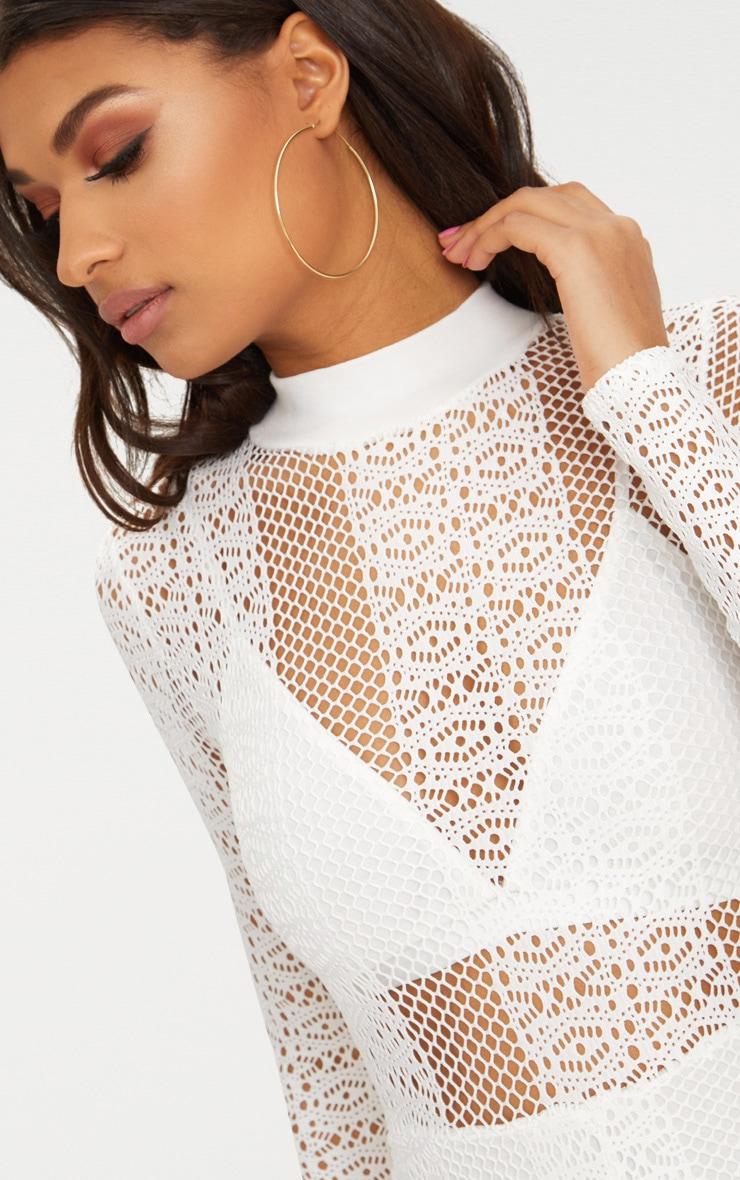 White Lace High Neck Bra Insert Jumpsuit | PrettyLittleThing - photo#36