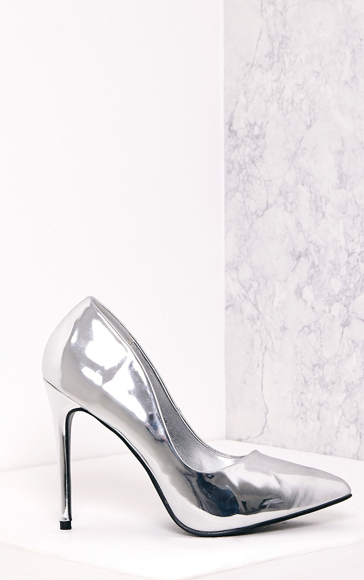 Deena Silver Metallic Patent Court Shoes 1