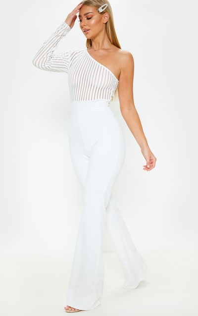 3d280d7a658 White Stripe Mesh One Shoulder Jumpsuit. More colours available