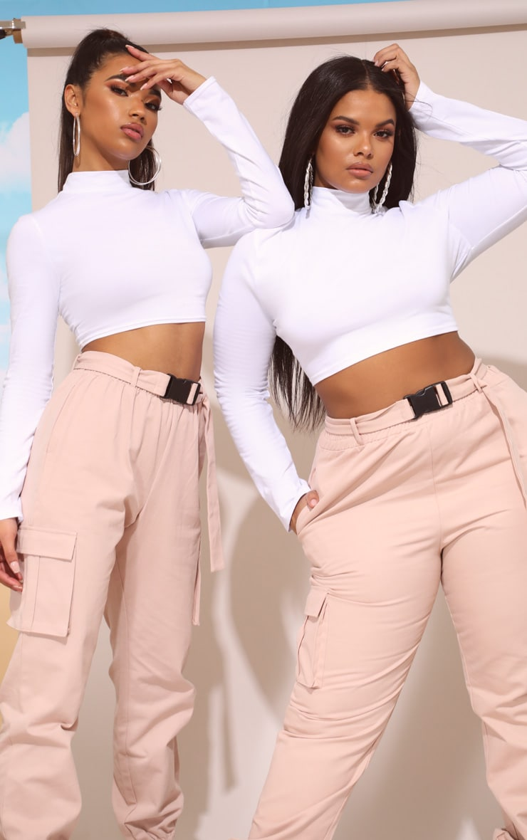 White High Neck Long Sleeve Crop Top 8