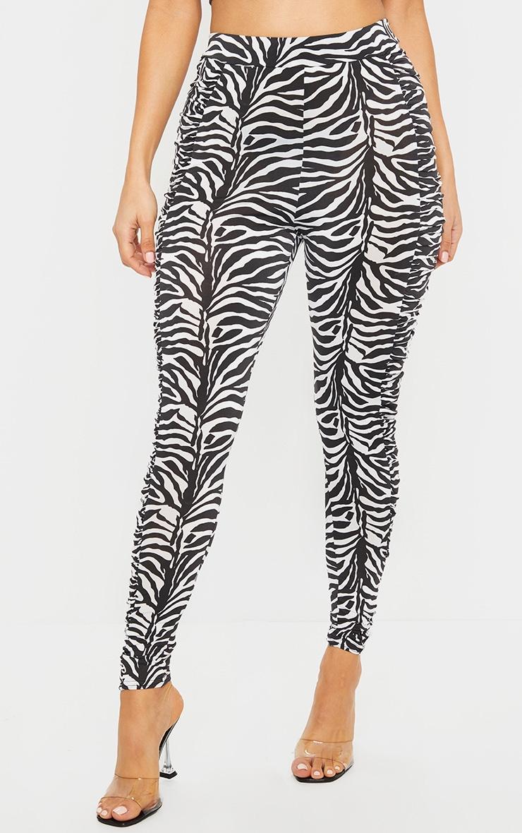 Zebra Ruched Side Slinky Leggings 2