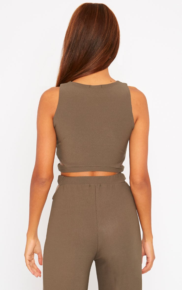 Elphina Khaki Crepe Cut Out Crop Top 2