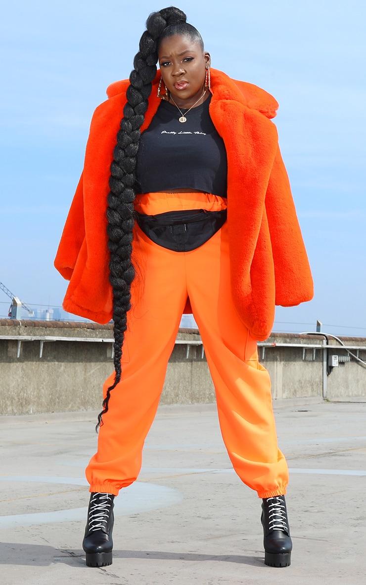 Plus Orange Faux Fur Oversized Collar Coat 1