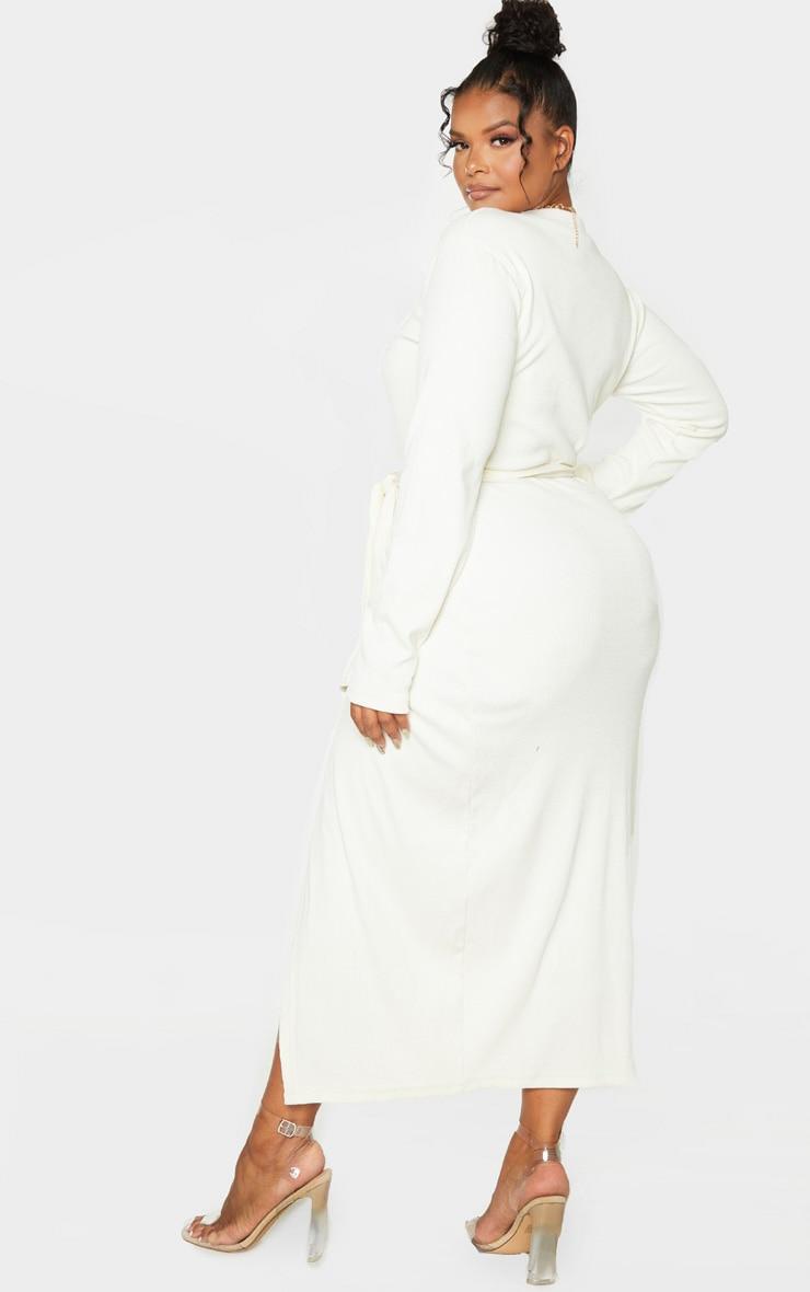 Plus Cream Thick Rib Tie Waist Wrap Midi Dress 2