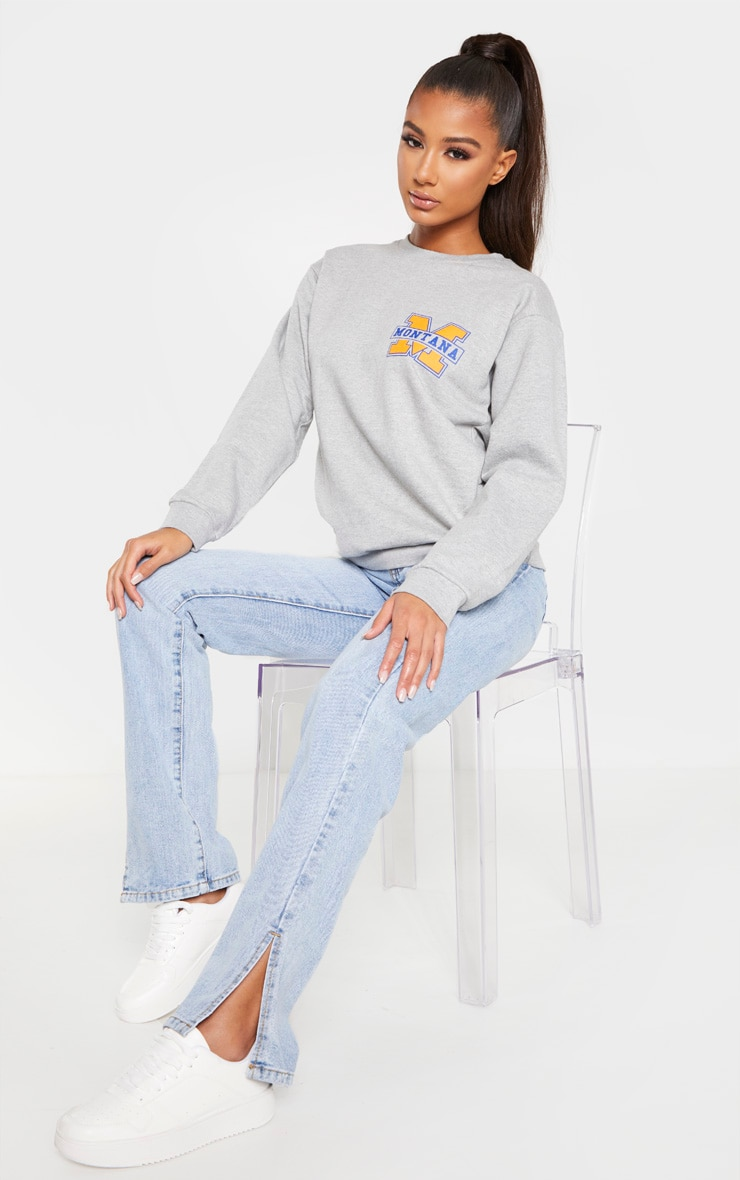 Grey Montana Slogan Sweater 1
