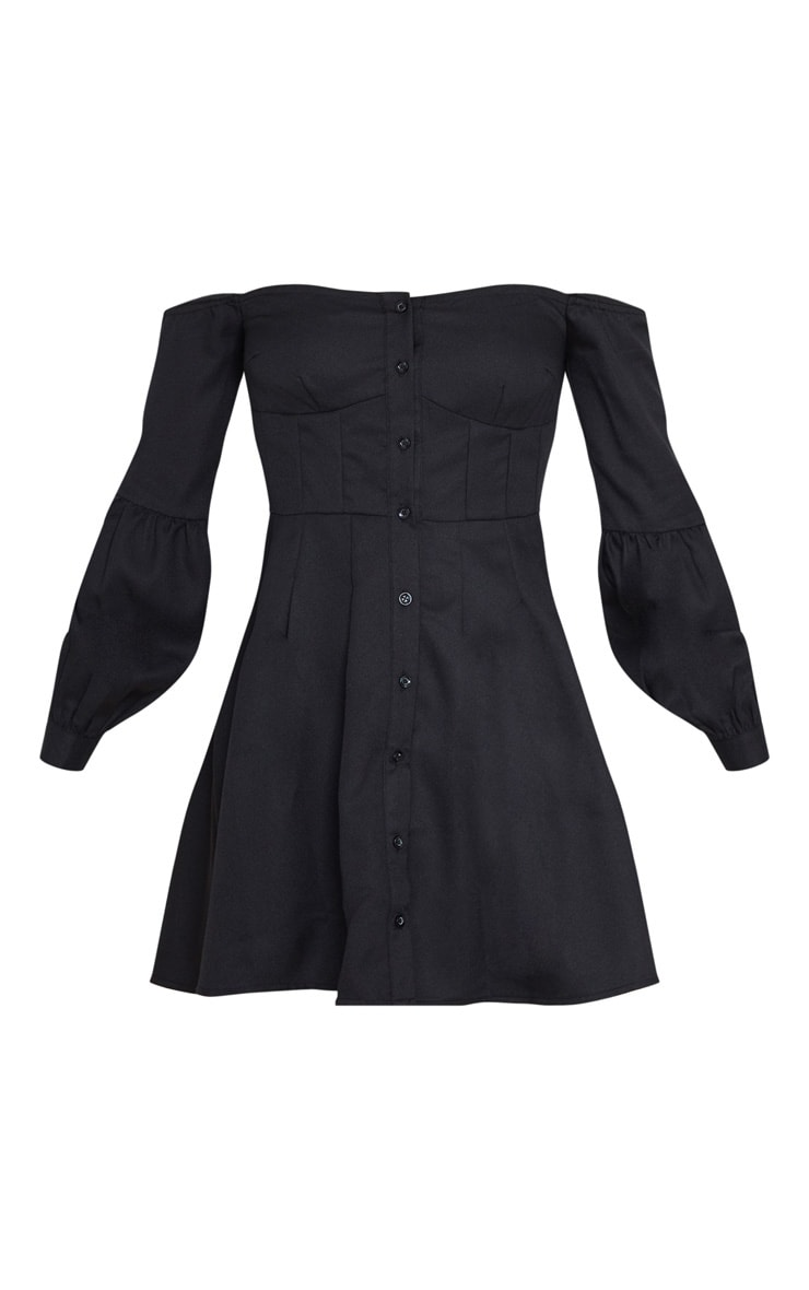 Black Waist Detail Long Sleeve Bardot Skater Dress 3