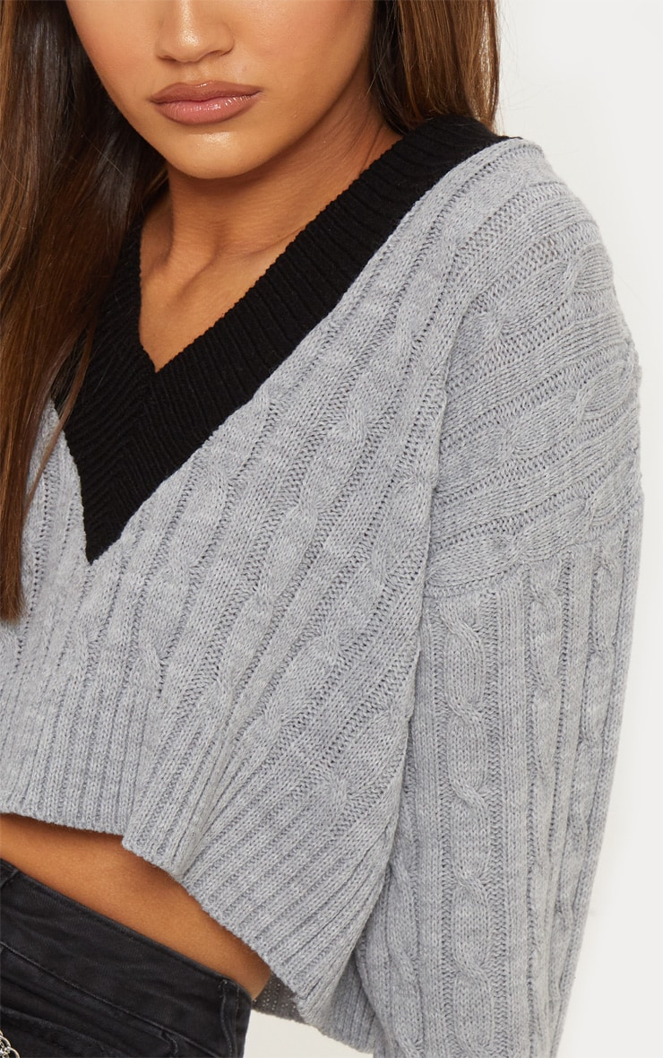 Grey Cable V Neck Knitted Jumper   5