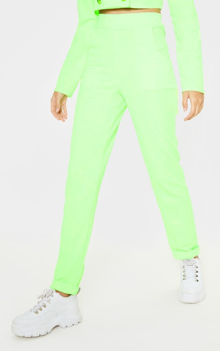 Neon Green Straight Leg Pants 2