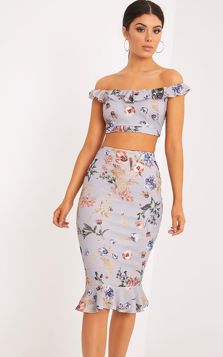 Alyson Grey Frill Hem Floral Midi Skirt 1