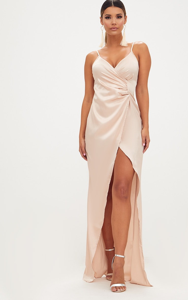 Champagne Satin Strappy Wrap Detail Maxi Dress 1