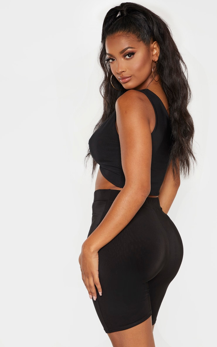 Shape Black Slinky Twist Front Strappy Crop Top  2