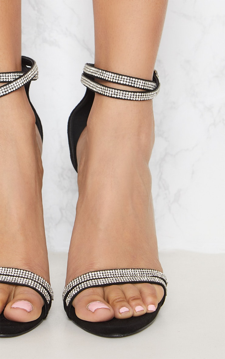 Black Diamante Jewel Strappy Sandal 5