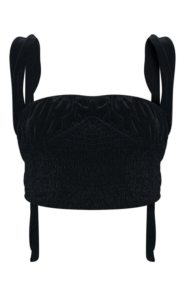 Black Velvet V Wire Underbust Shirring Top 5