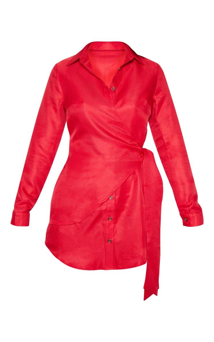 Red Tortoise Button Wrap Tie Shirt Dress 3