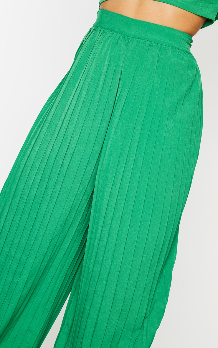 Bright Green Wide Leg Pleated Trousers 4