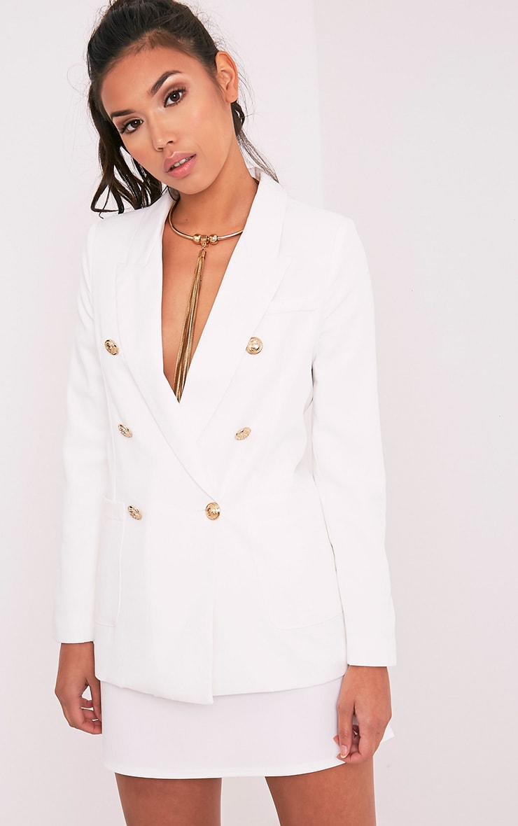 Pari White Double Breasted Military Style Blazer 1