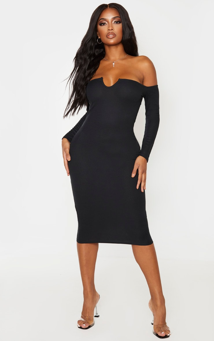 Shape Black Rib Bardot V Neck Midi Dress 1