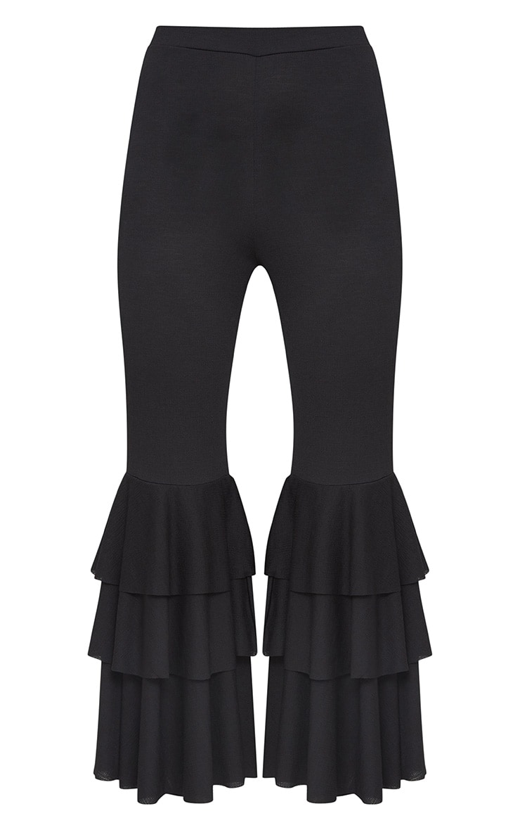Black Layered Frill Flare Trousers 3