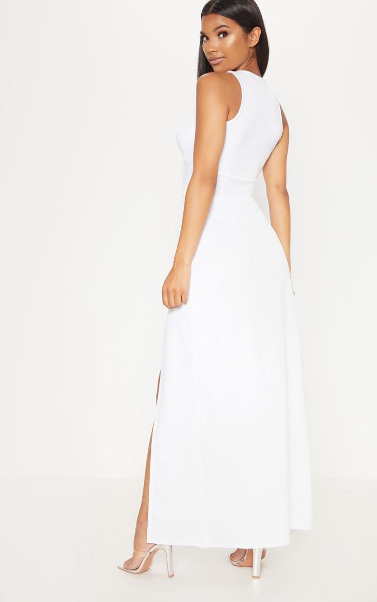 White Pointy Bust Detail Extreme Split Maxi Dress 2