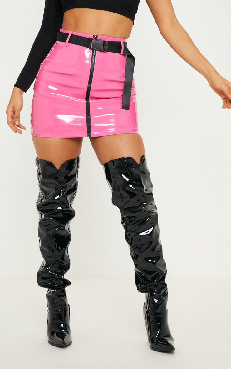 Neon Pink Vinyl Zip Front Belted Mini Skirt 2