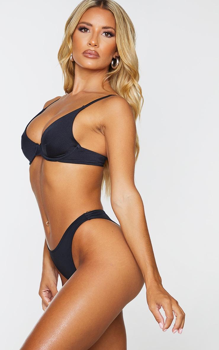 Black Recycled Fabric Mix & Match High Leg Bikini Bottom 2