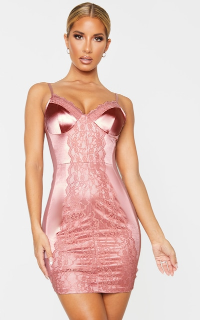 Pink Stretch Satin Lace Insert Strappy Bodycon Dress