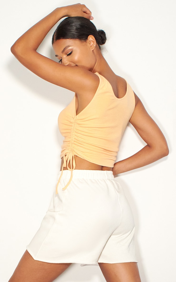 Peach Rib Ruched Side Vest Top 2