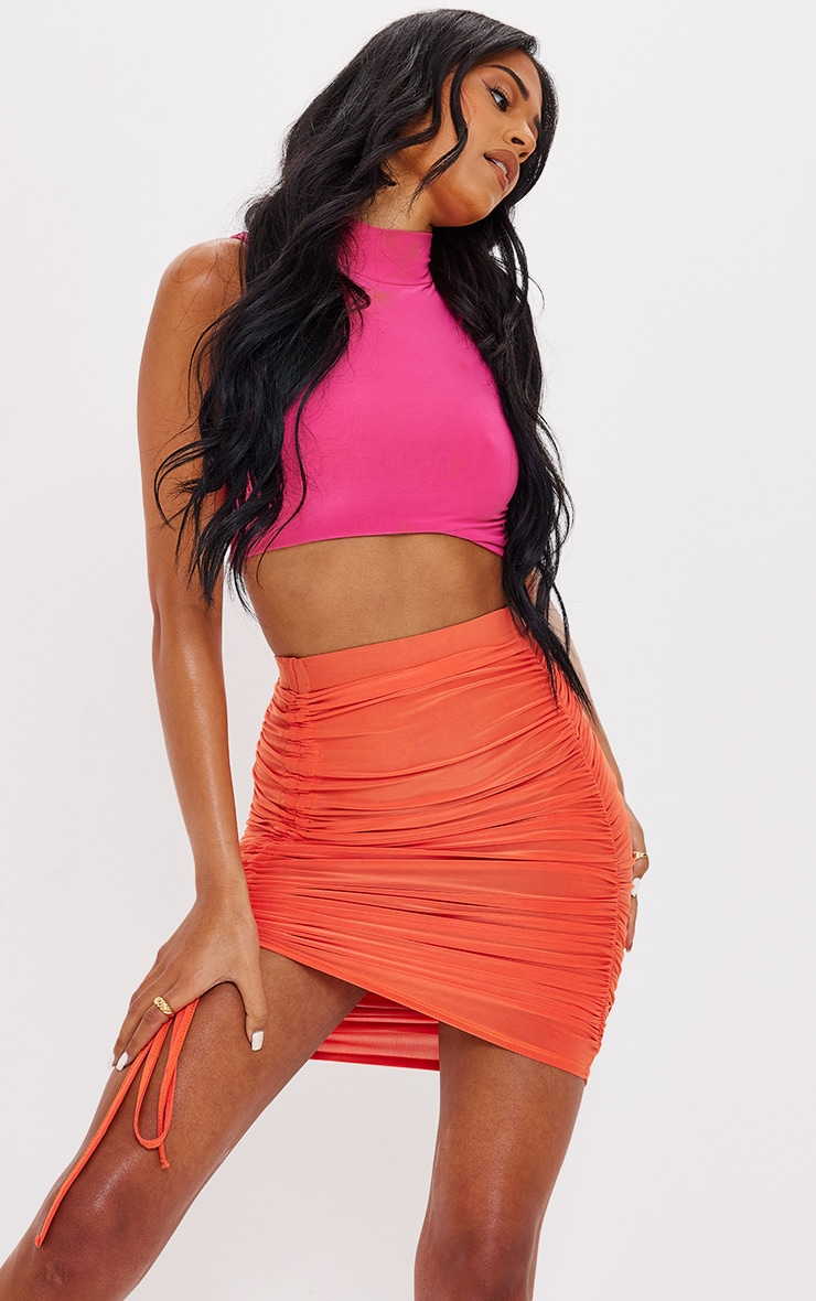 Tall  Orange Ruched Side Bodycon Skirt 4