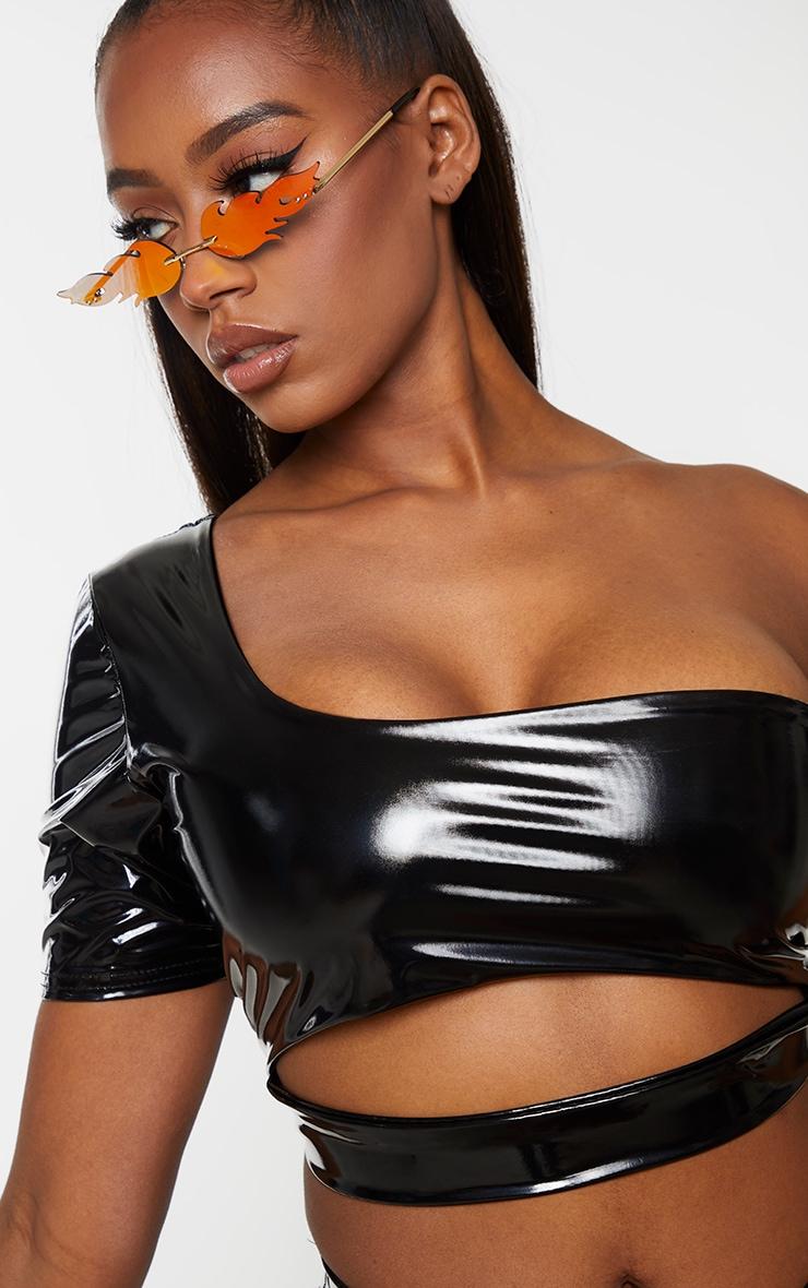 Shape Black Vinyl One Shoulder Cut Out Bikini Top 4