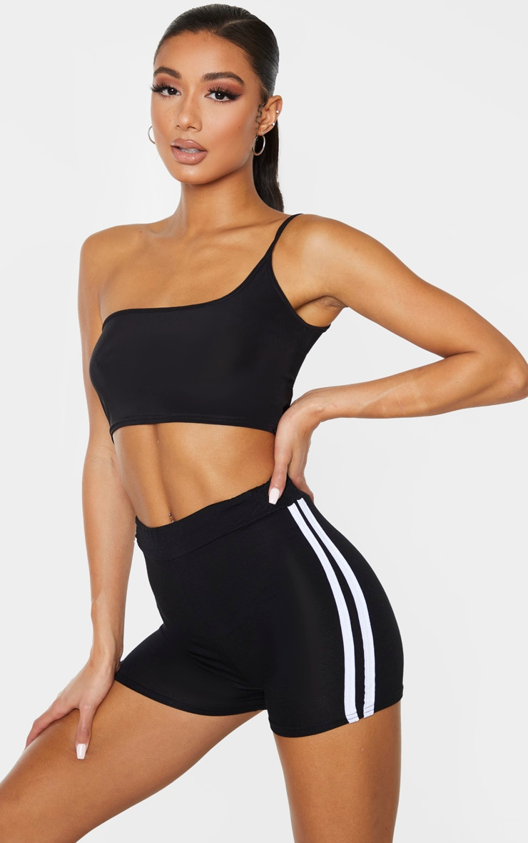 Black Double Side Stripe High Waisted Short 5