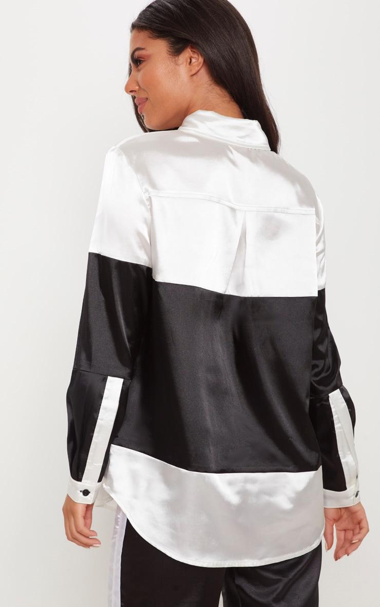 Monochrome Satin Colourblock Oversized Shirt 2