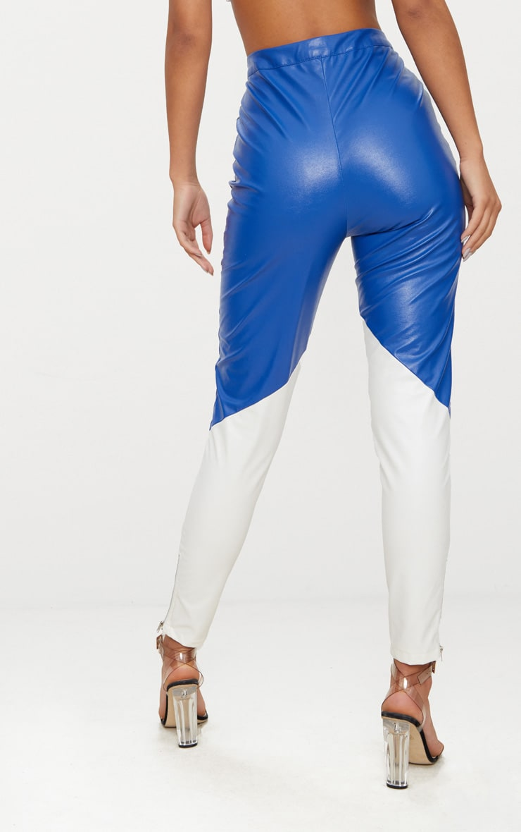 Blue Faux Leather Belted Motocross Pants 4