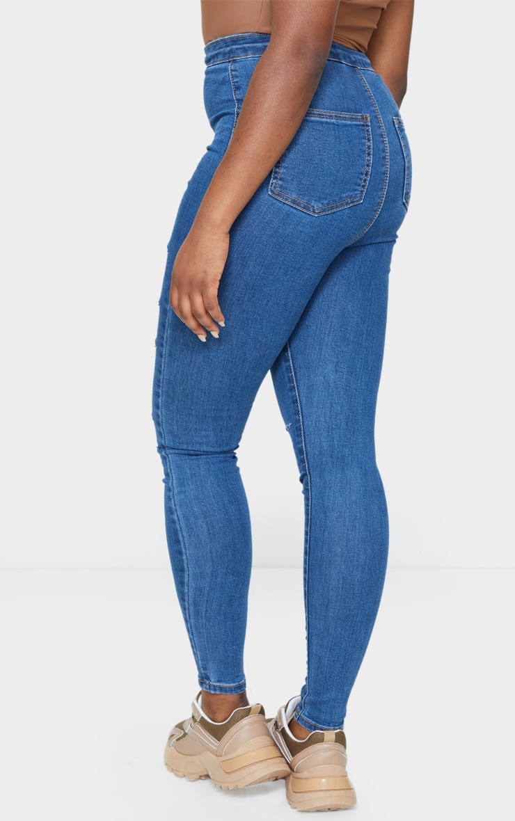 PRETTYLITTLETHING Petite Mid Blue Wash Rip Distressed Disco Skinny Jean 3