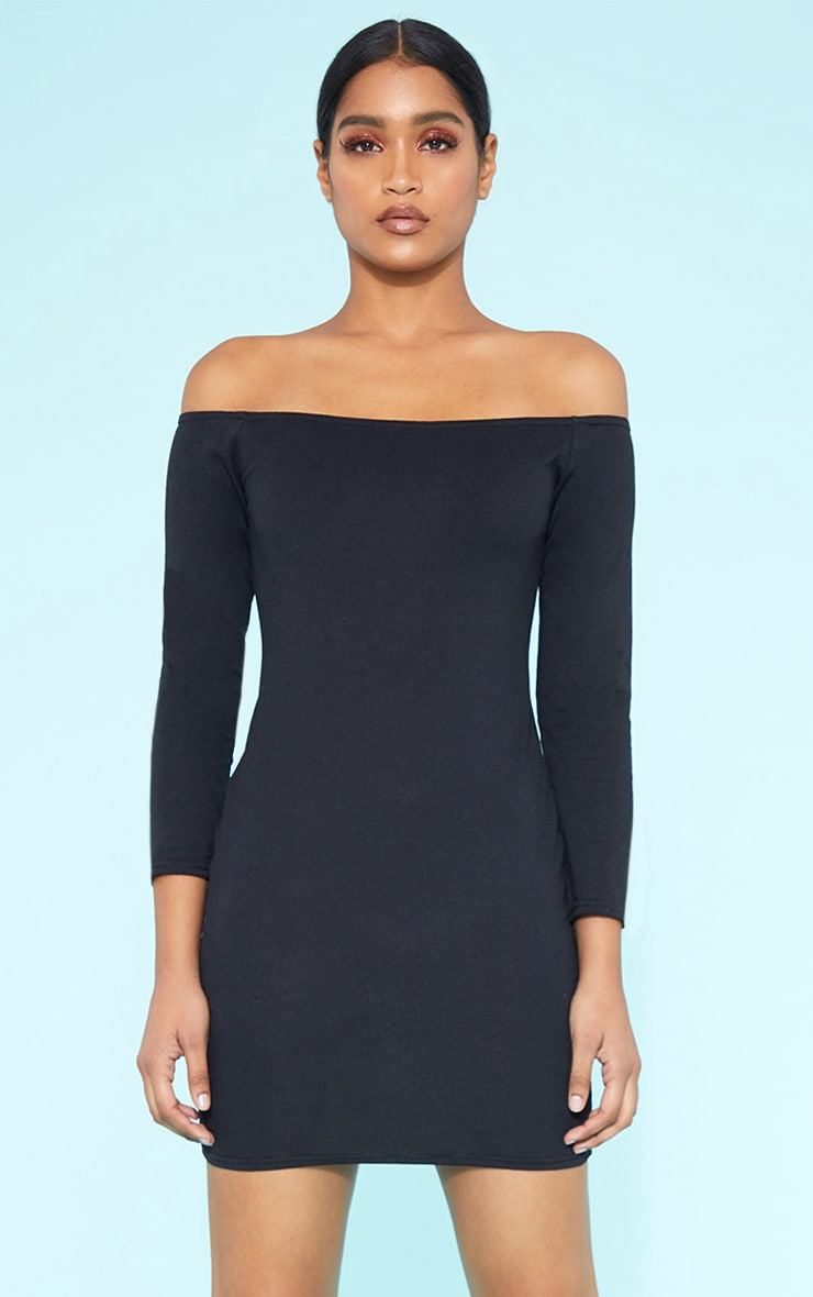 RECYCLED Bardot Bodycon Dress Black 2
