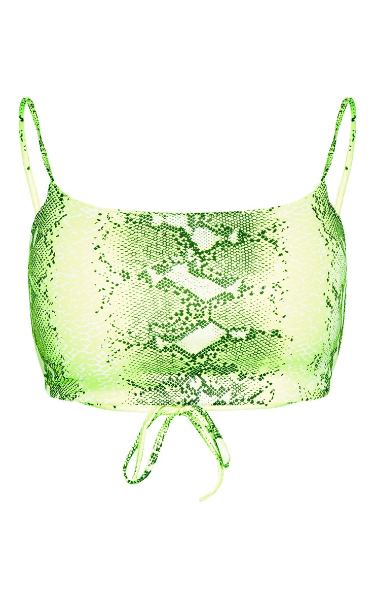 Neon Lime Snake Print Strappy Crop Top 3