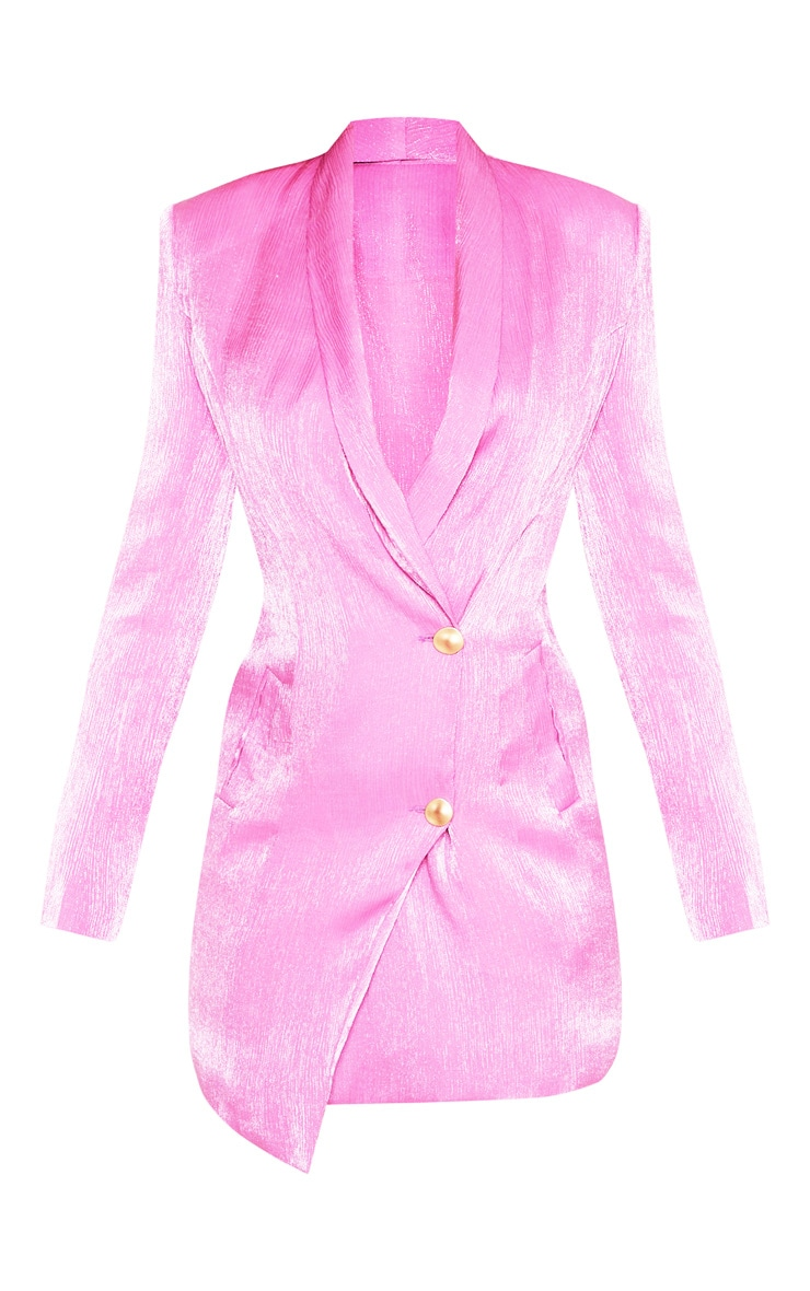 Pink Pleated Shimmer Gold Button Blazer Dress 3