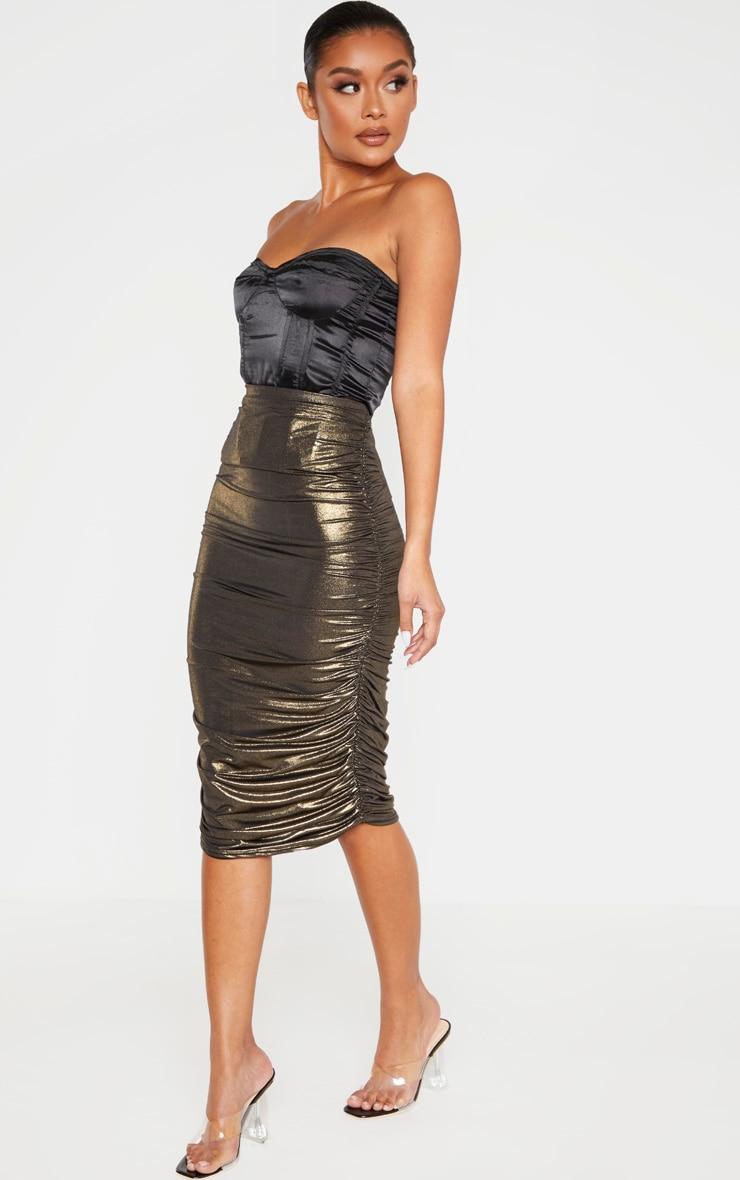 Gold Metallic Textured Ruched Midi Skirt  1