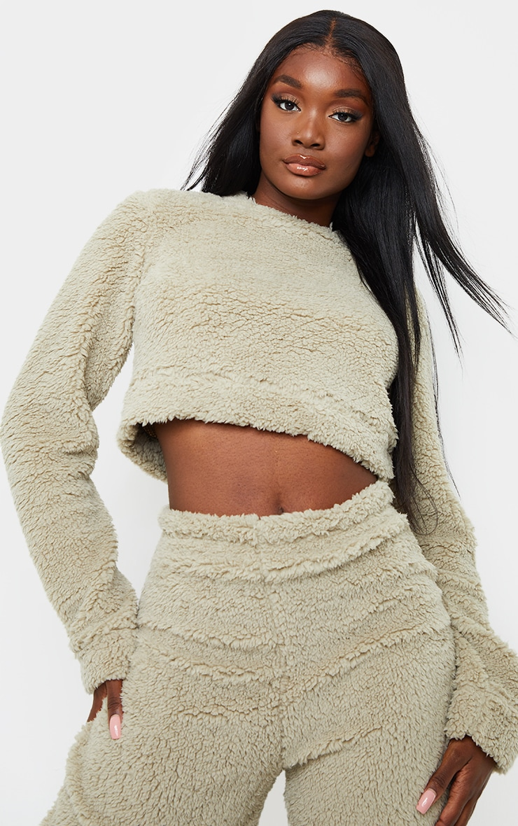 Tall Sage Green Soft Borg Elastic Hem Cropped Sweater 1